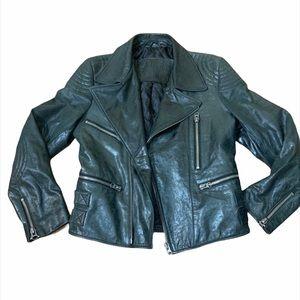 NYS 100% Lamb Leather Bomber Black Biker Jacket